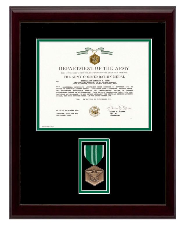 Army Commendation Certificate Frame | Military Certificate & Diploma ...