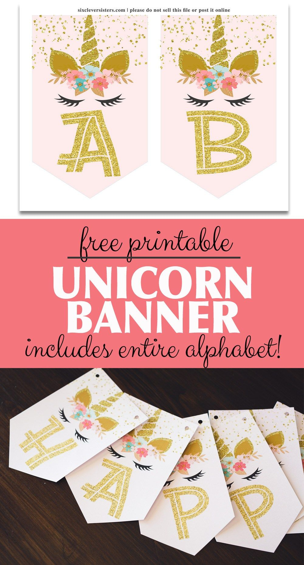 Unicorn Banner Free Printable! (pink & gold unicorn banner ...