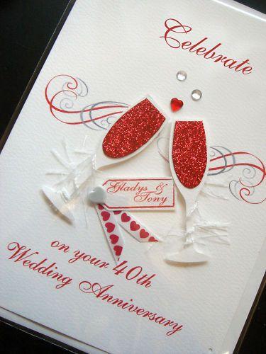 Personalised Handmade 40th Ruby Anniversary Card Anniversary Cards Handmade Anniversary Cards For Husband Wedding Anniversary Cards