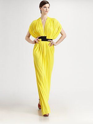 Vionnet jersey gown in lemon with black asymmetric grosgrain waistband. $2160.00. At Saks Fifth Avenue.
