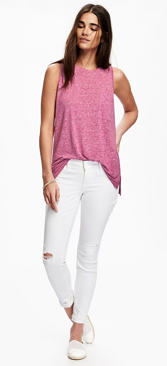 Take a cue from him with a slouchy muscle tank. Then add dainty ...
