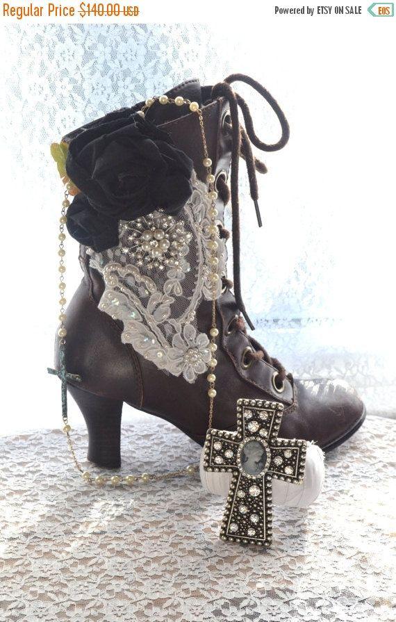 Sale Gypsy boots Boho embellished granny by TrueRebelClothing