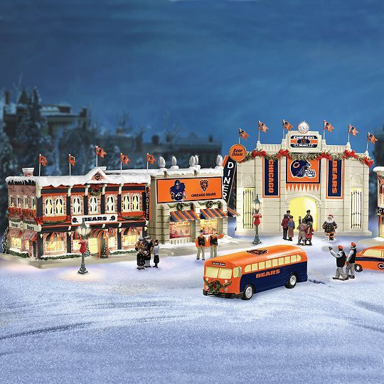 Collectible Chicago Bears Christmas Village Collection - Chicago Bears Illuminated Christmas Village Collection Funny