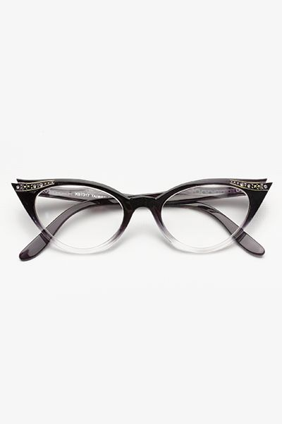 864454b03c7 Gradient Rhinestone  Betty Jo  Cat Eye Clear Glasses - Black - 1097-1