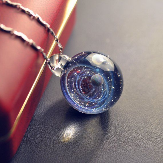 Galaxy Pendant Necklace, Twisted Space Glass Penda