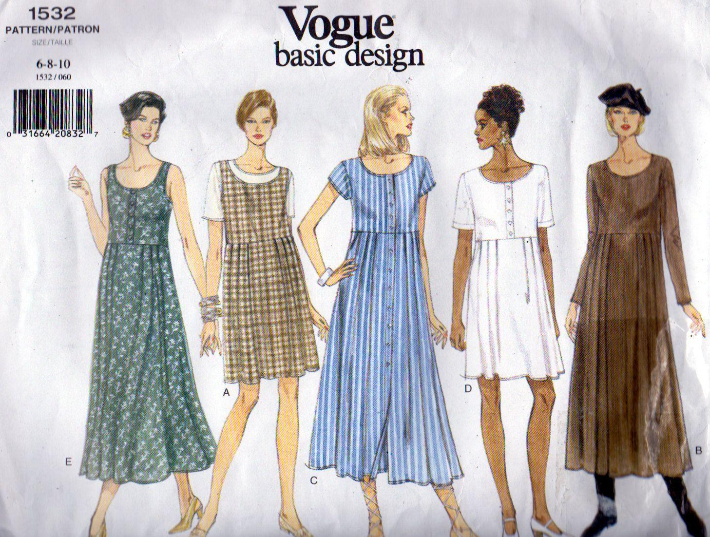 Vogue 1532, Vogue Basic Design Misses Dress Sewing Pattern, Easy To ...