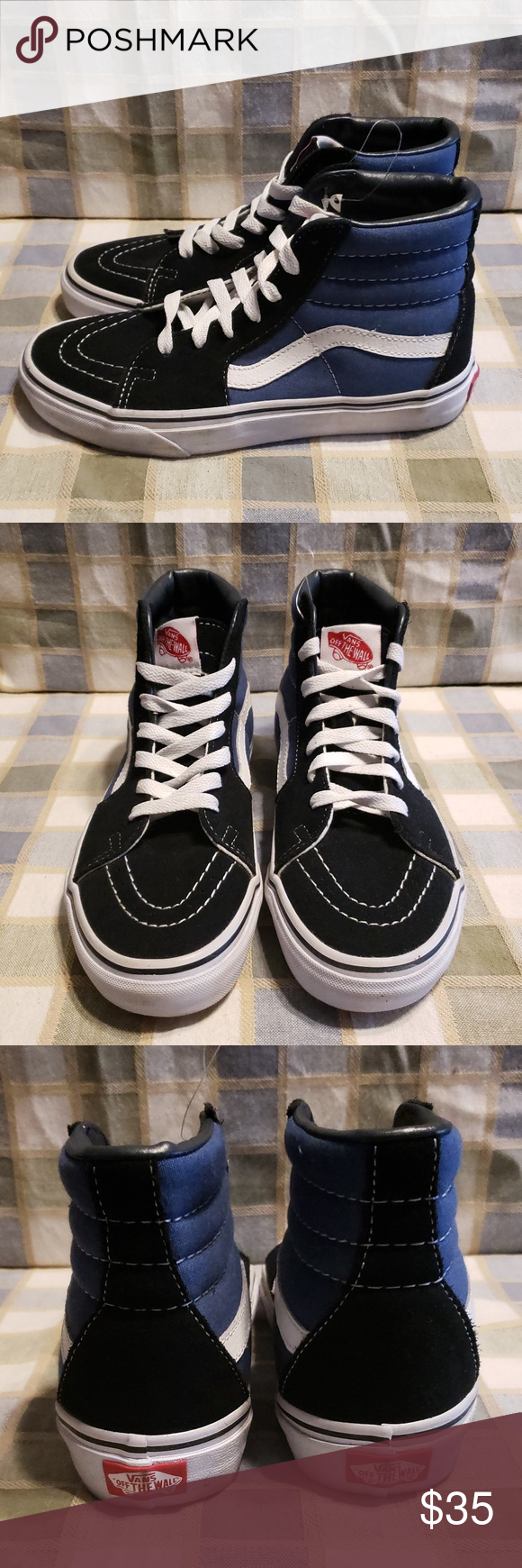 572ce8159ac815 Vans Off The Wall Leather Black Blue High Tops Red mark on size tag. Vans  Off The Wall Leather High Top Skateboarding Sneaker Color  Black   Blue  Size  M 5 ...