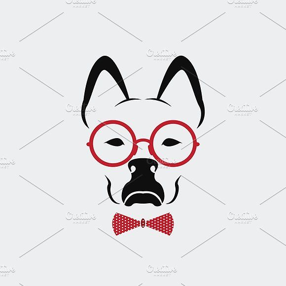 Vector Of Dog Wearing Glasses Web Design Icon Face Icon Animal Fashion