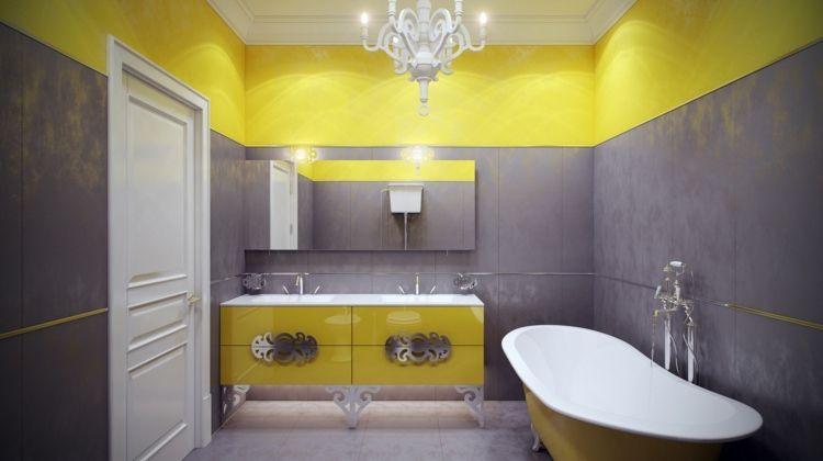 idées déco salle de bain - carrelage mural en jaune et gris ...
