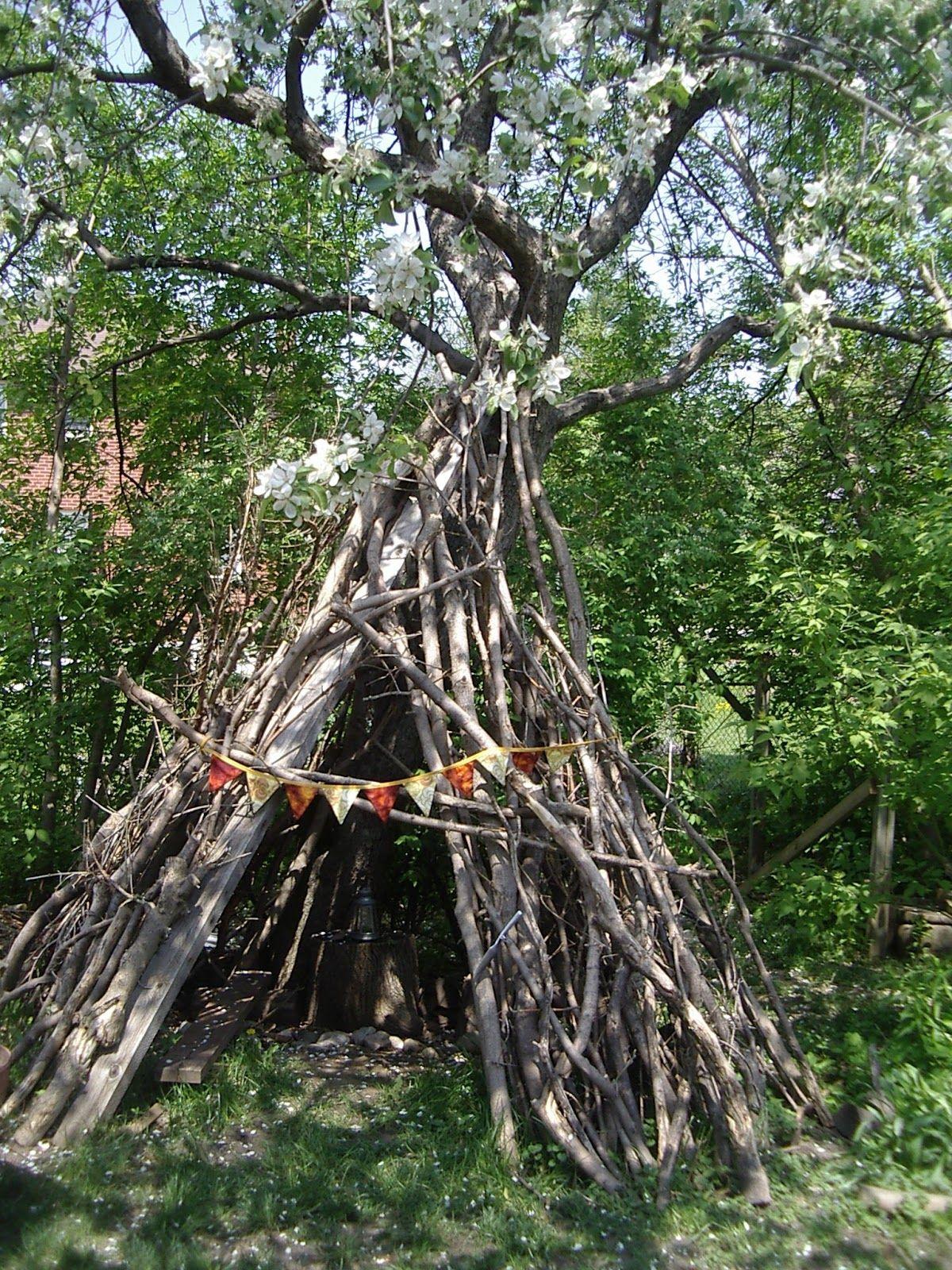 little city farm twig teepee backyard ideas pinterest yards