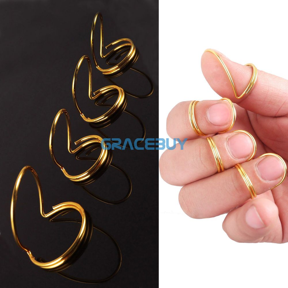 4pcs Golden Butterfly Finger Picks Fingerstyle Thumb Pick Finger