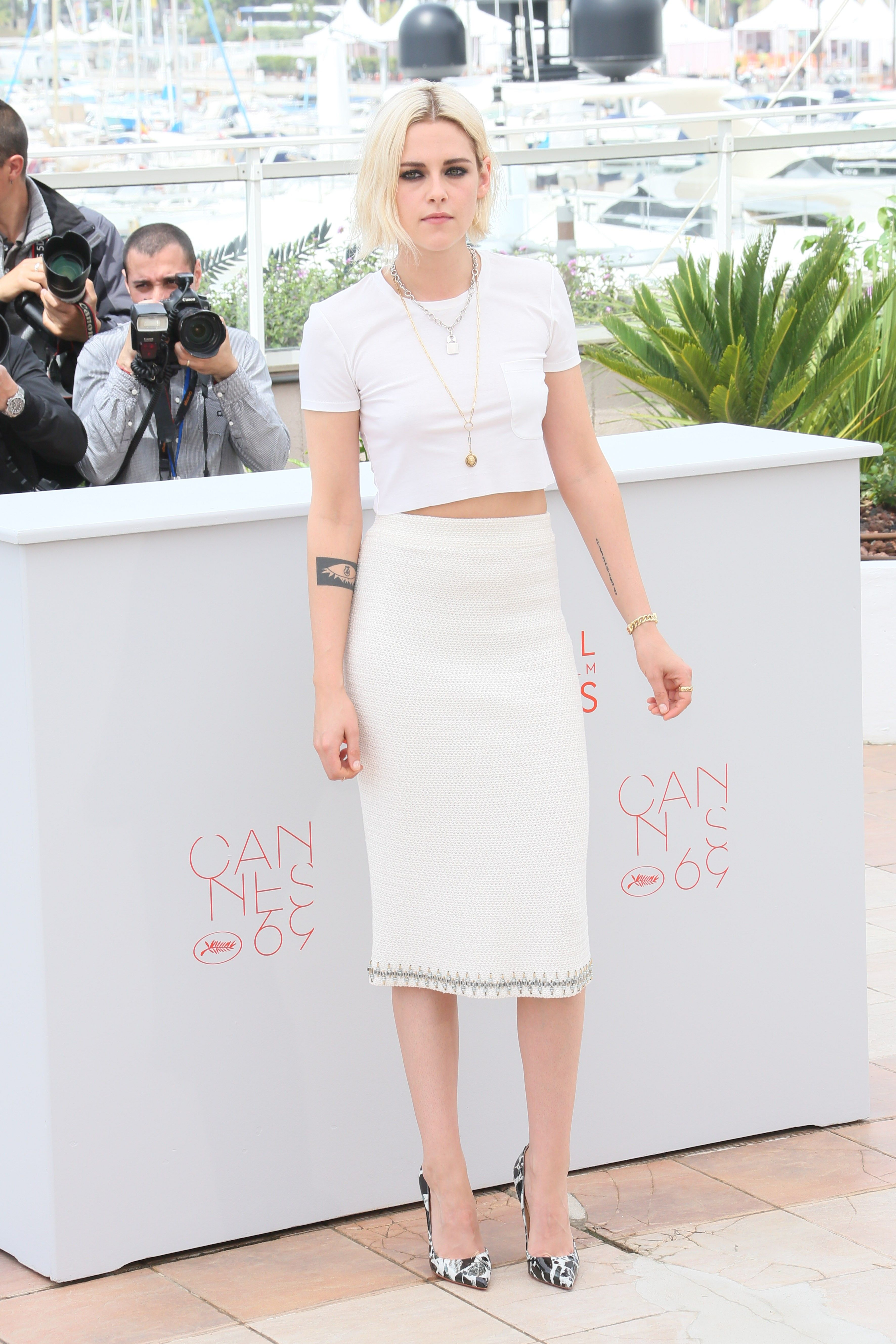 How Kristen Stewart Dressed Up a White T-Shirt for Cannes via @WhoWhatWear