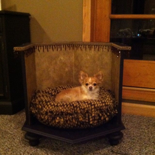 Dog Bed Made Out Of An Old End Table Diy Dog Bed Dog Furniture Dog Beds Homemade