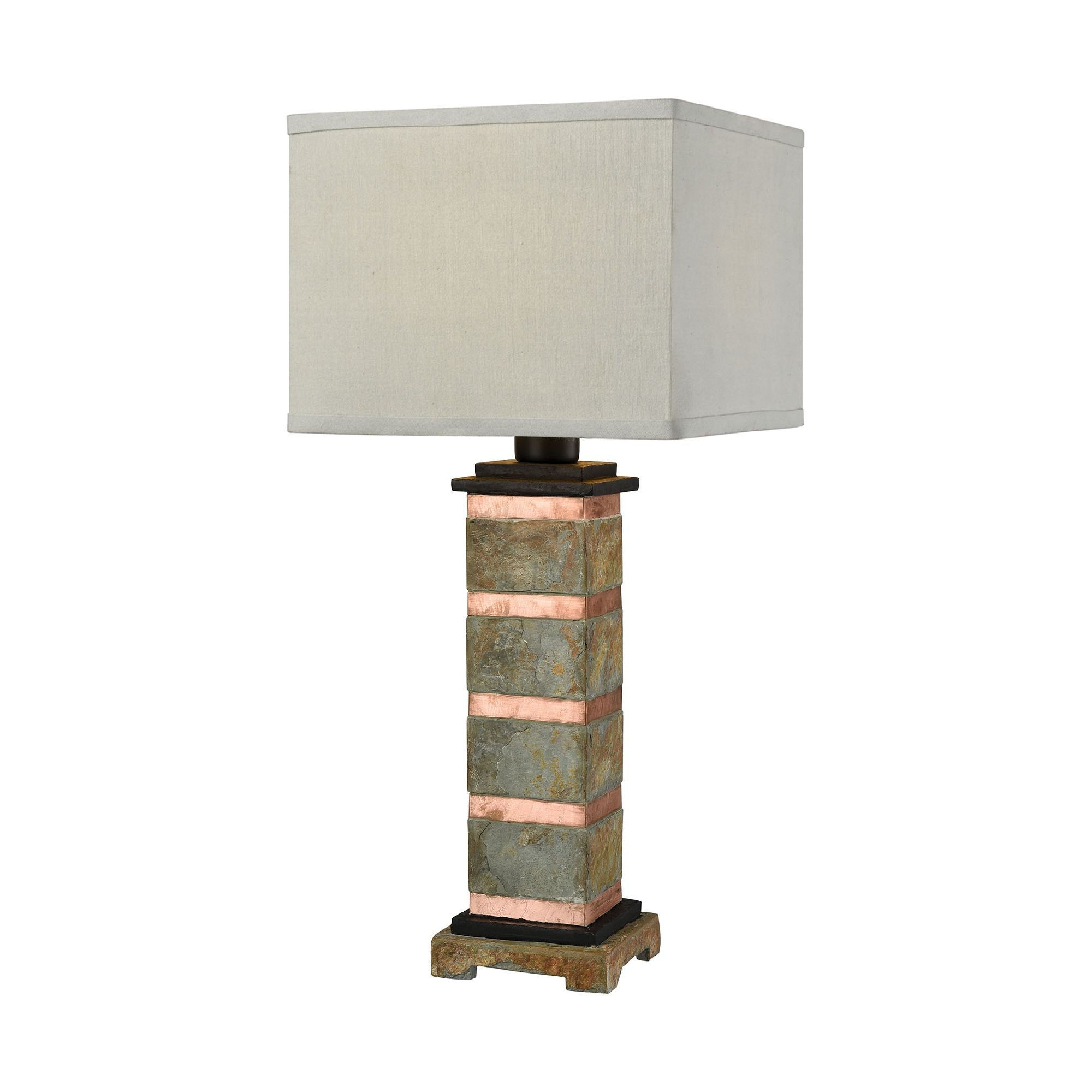 27 Gray And Brown Stone Body Outdoor Table Lamp With White Rectangular Shade Outdoor Table Lamps Natural Table Lamps Titan Lighting