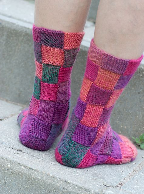 Diy Rainbow Color Patch Entrelac Knitting Socks With Patterns