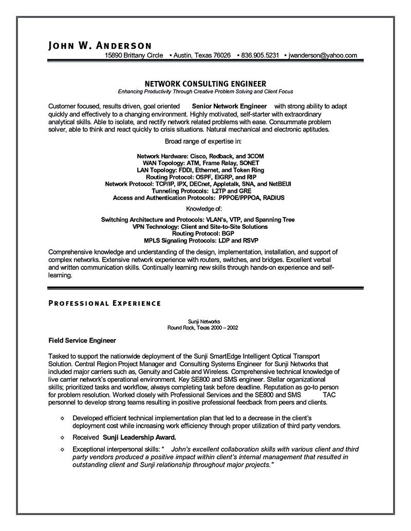 network engineer resume nowadays becomes so popular it is because the needs of the network - Network Consulting Engineer