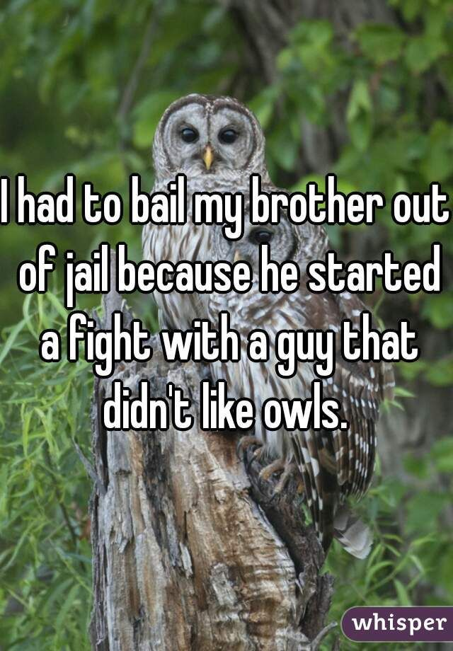 I had to bail my brother out of jail because he started a fight with a guy that didn't like owls.