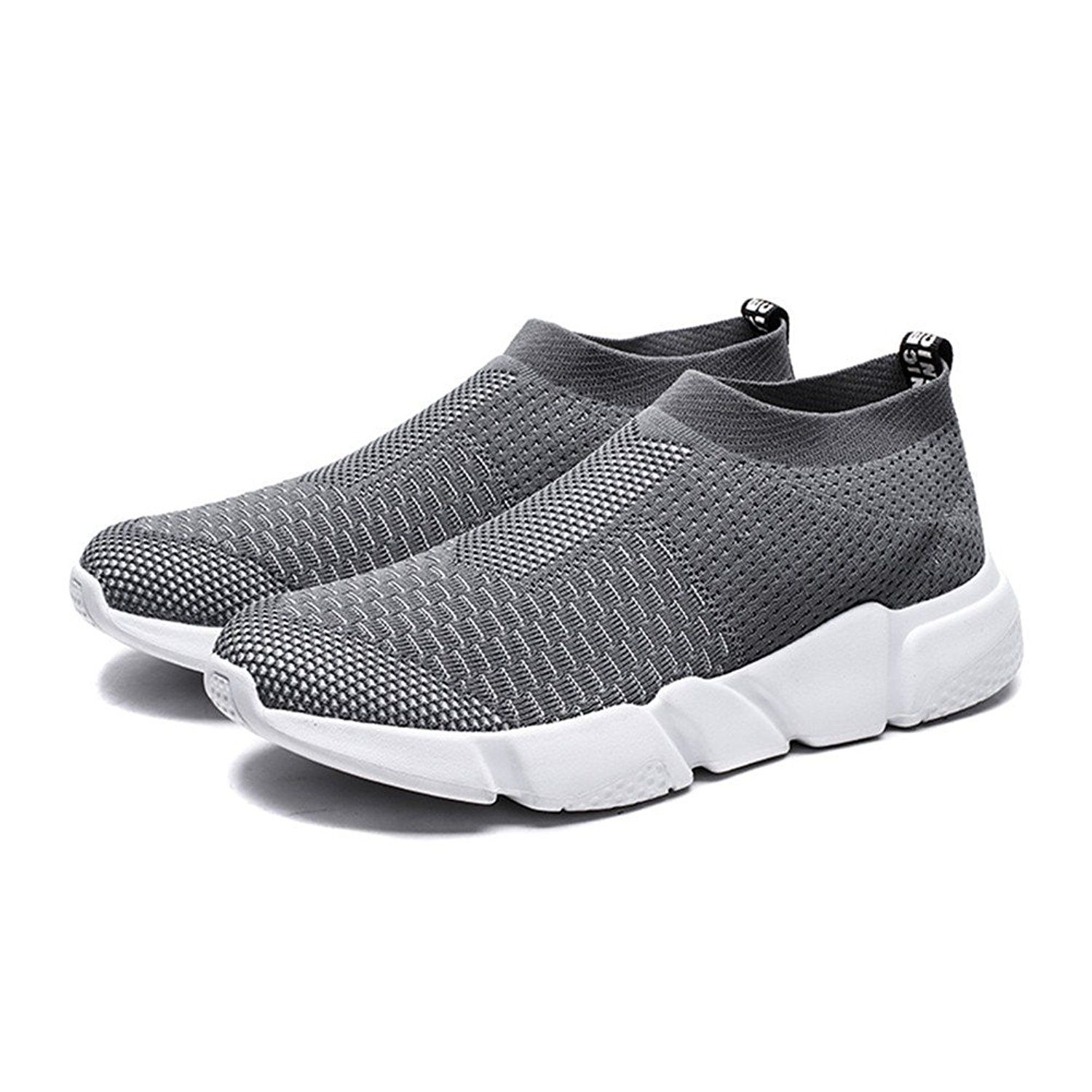 Mens Mesh Cloth Sports Sneakers Slip-on Light Breathable Running Shoes Gray