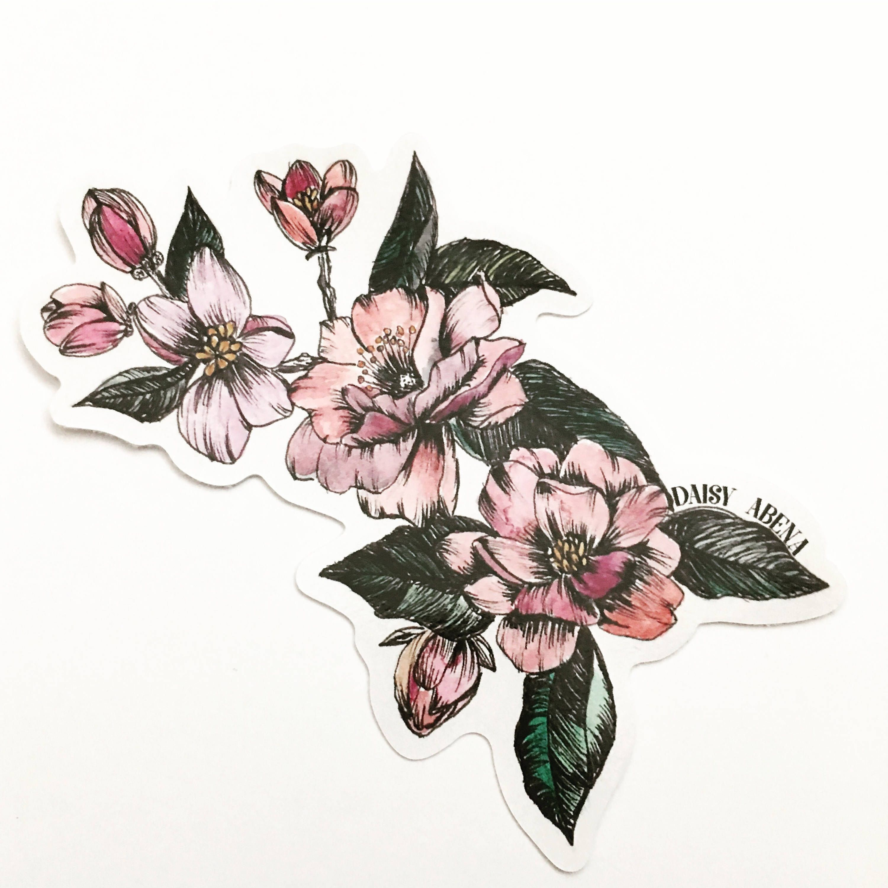 Floral stickers stickers illustration stickers vinyl stickers laptop stickers flower stickers flower illustration illustration