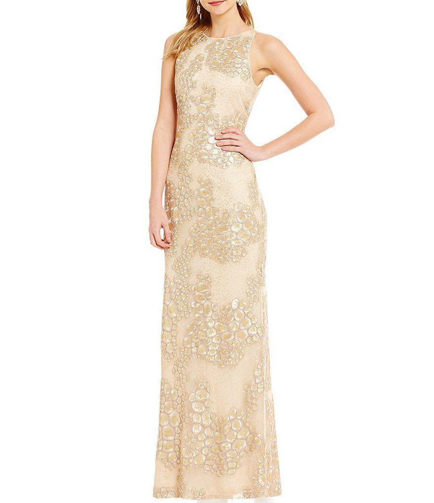 a154e4818d7 Belle Badgley Mischka Waverly Sequin Geometric Print Gown