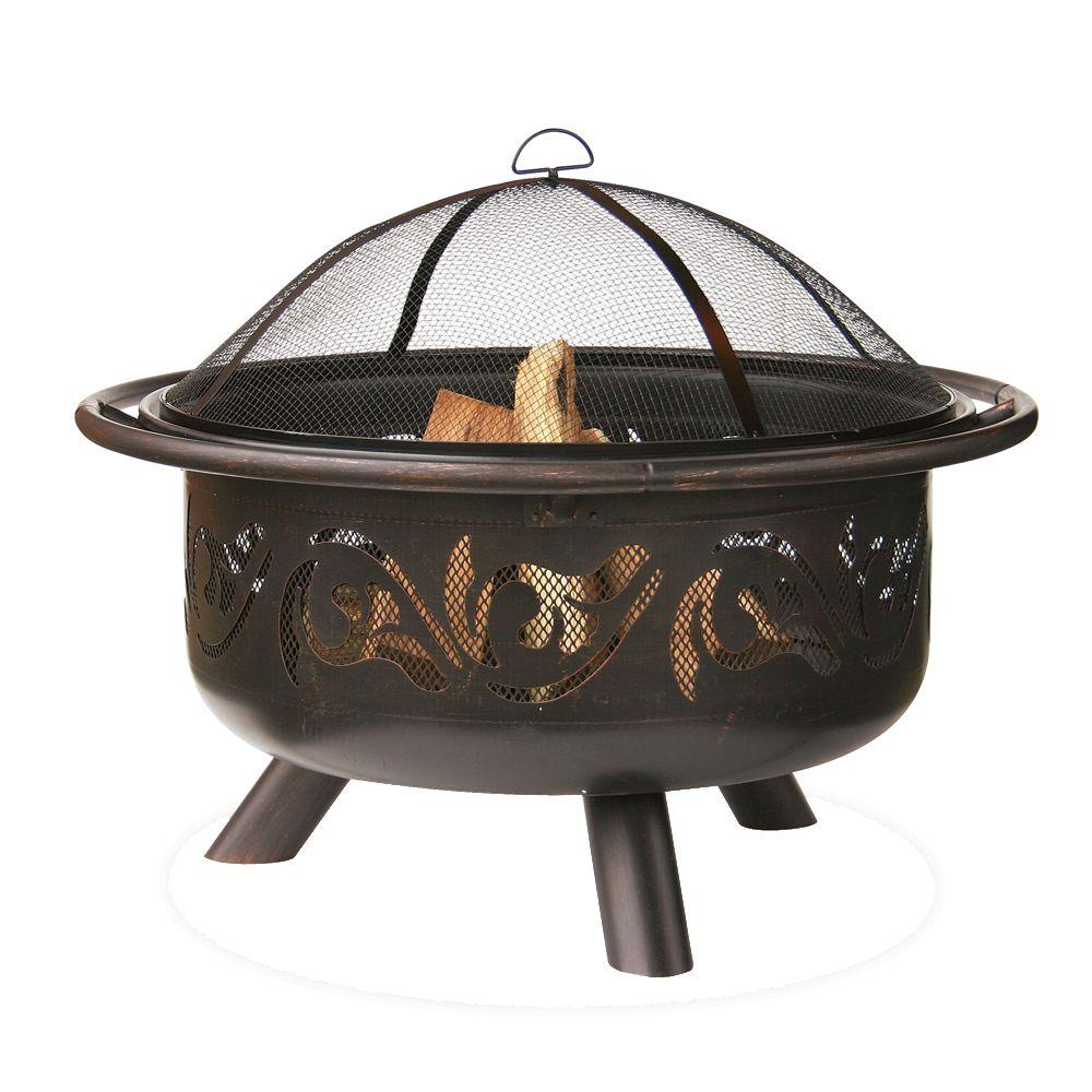 Endless Summer 36 In Diameter Bronze Finish Iron Construction Wood Burning Fire Pit With Swirl Design Wad900sp The Home Depot Wood Burning Fire Pit Wood Fire Pit Fire Pit