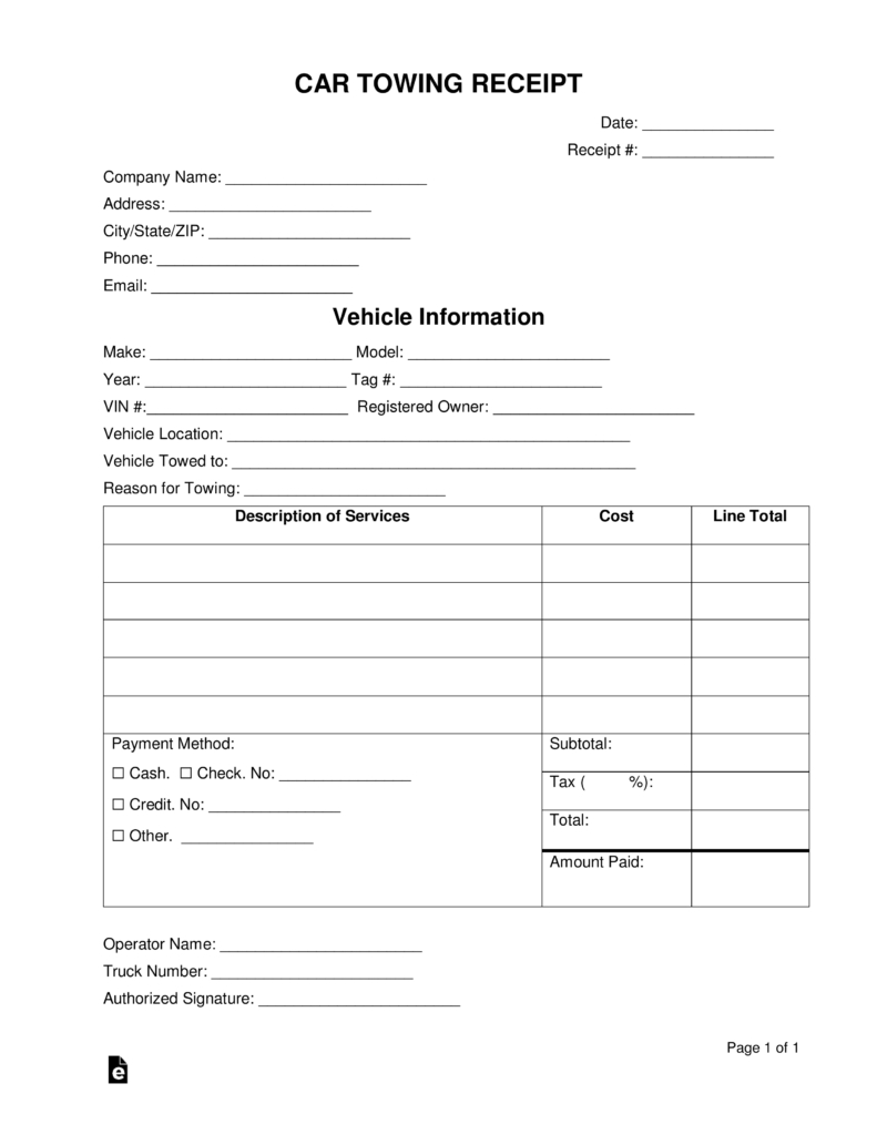 Download the towing invoice in microsoft word (.docx) or adobe pdf. Free Car Towing Receipt Template Word Pdf Eforms Free With Towing Service Invoice Template 10 Pro Receipt Template Invoice Template Business Plan Template