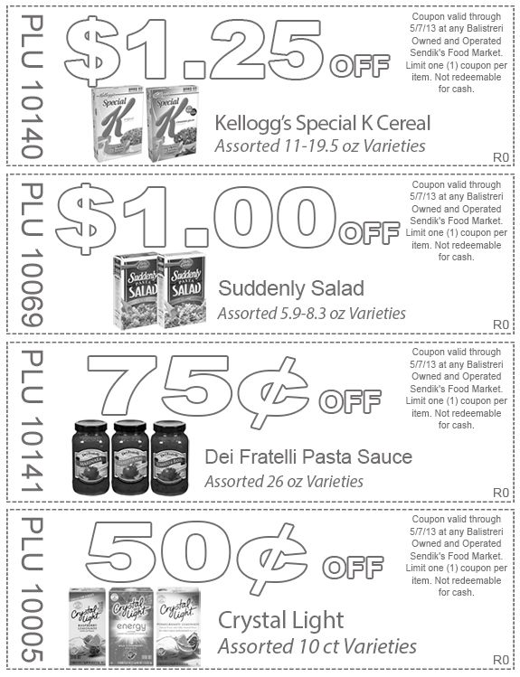 Kelloggu0027s Special K Cereal, Suddenly Salad, Dei Fratelli Pasta Sauce And Crystal  Light. Coupons Valid Thru 5/7/13.
