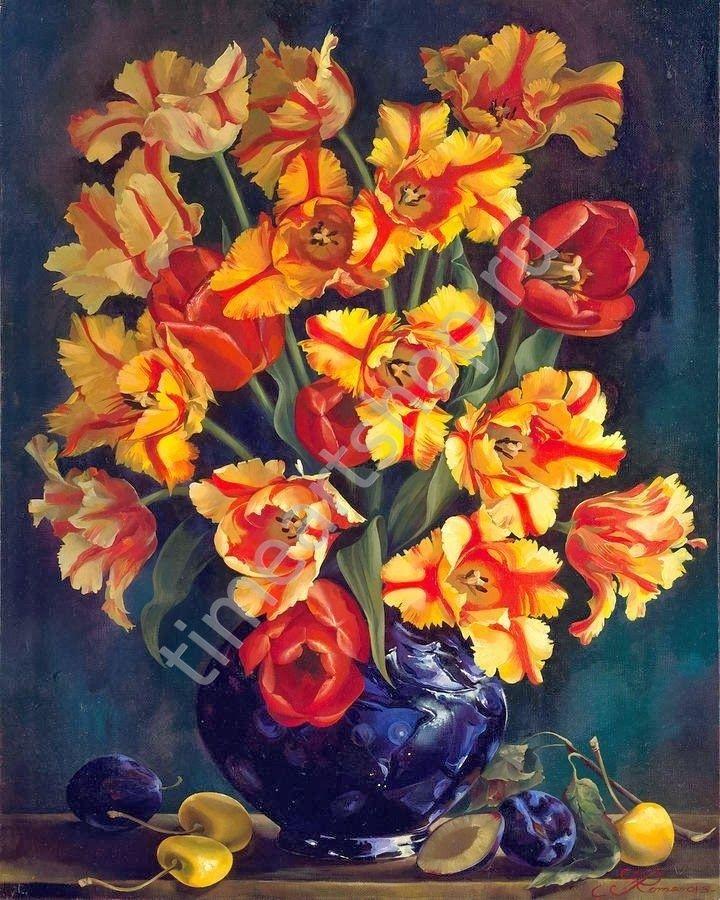 """Ирина Романова-Лоренц """"Тюльпаны"""", картина раскраска по ..."""