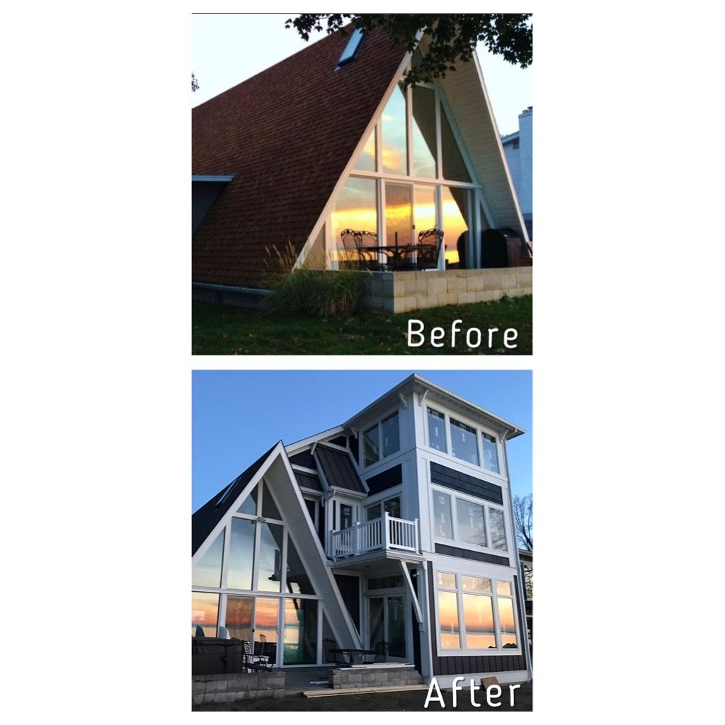 a-frame addition remodel part 2 before and after. anderson 400