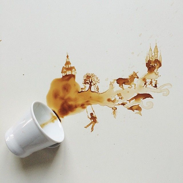 Giulia Bernardelli. The Italian artist paints intricate scenes and portraits with her morning cups of joe, ice cream, honey, wine . . . really, just about anything.
