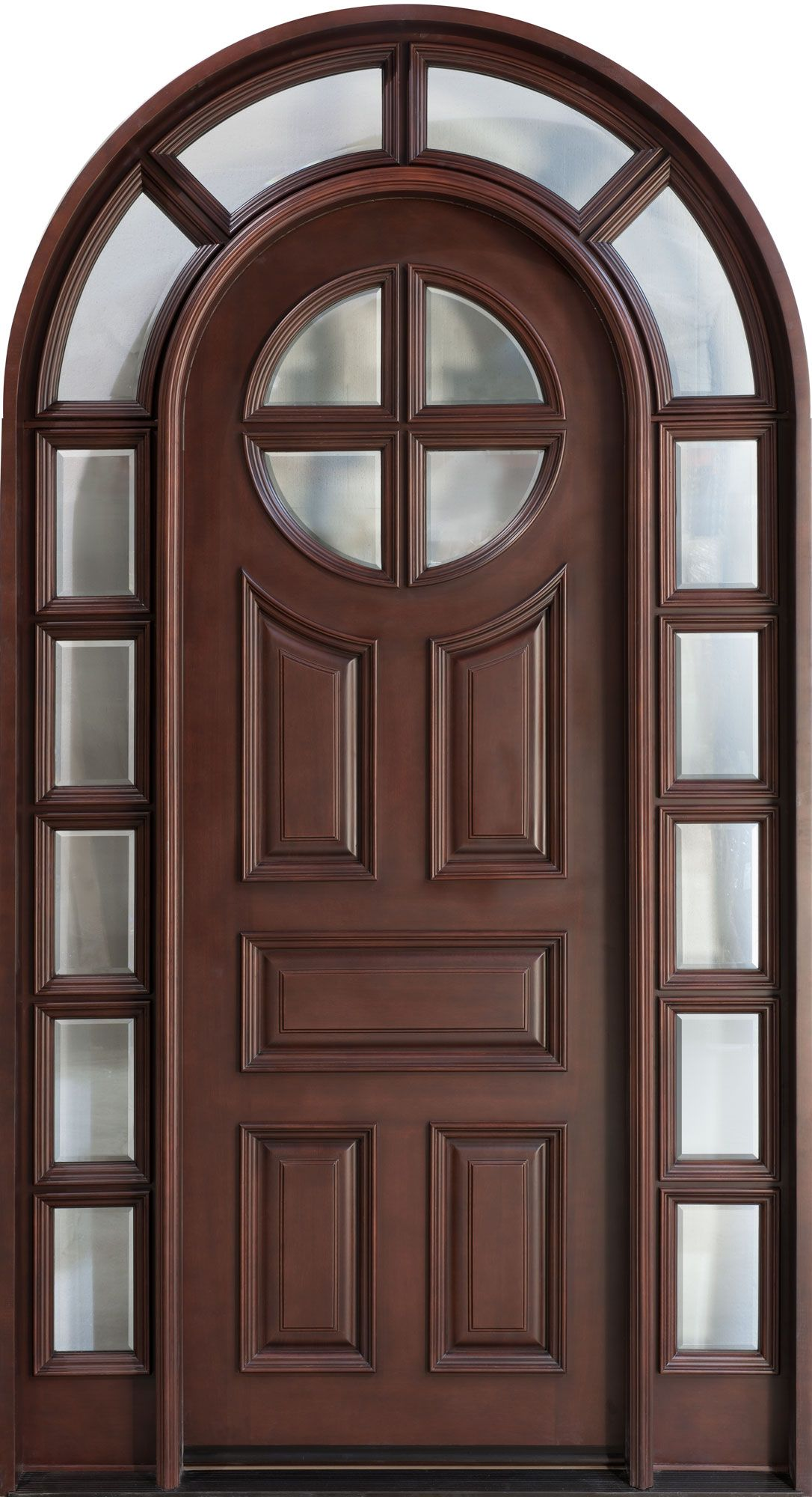 Front door custom single with 2 sidelites solid wood for Exterior wooden door designs
