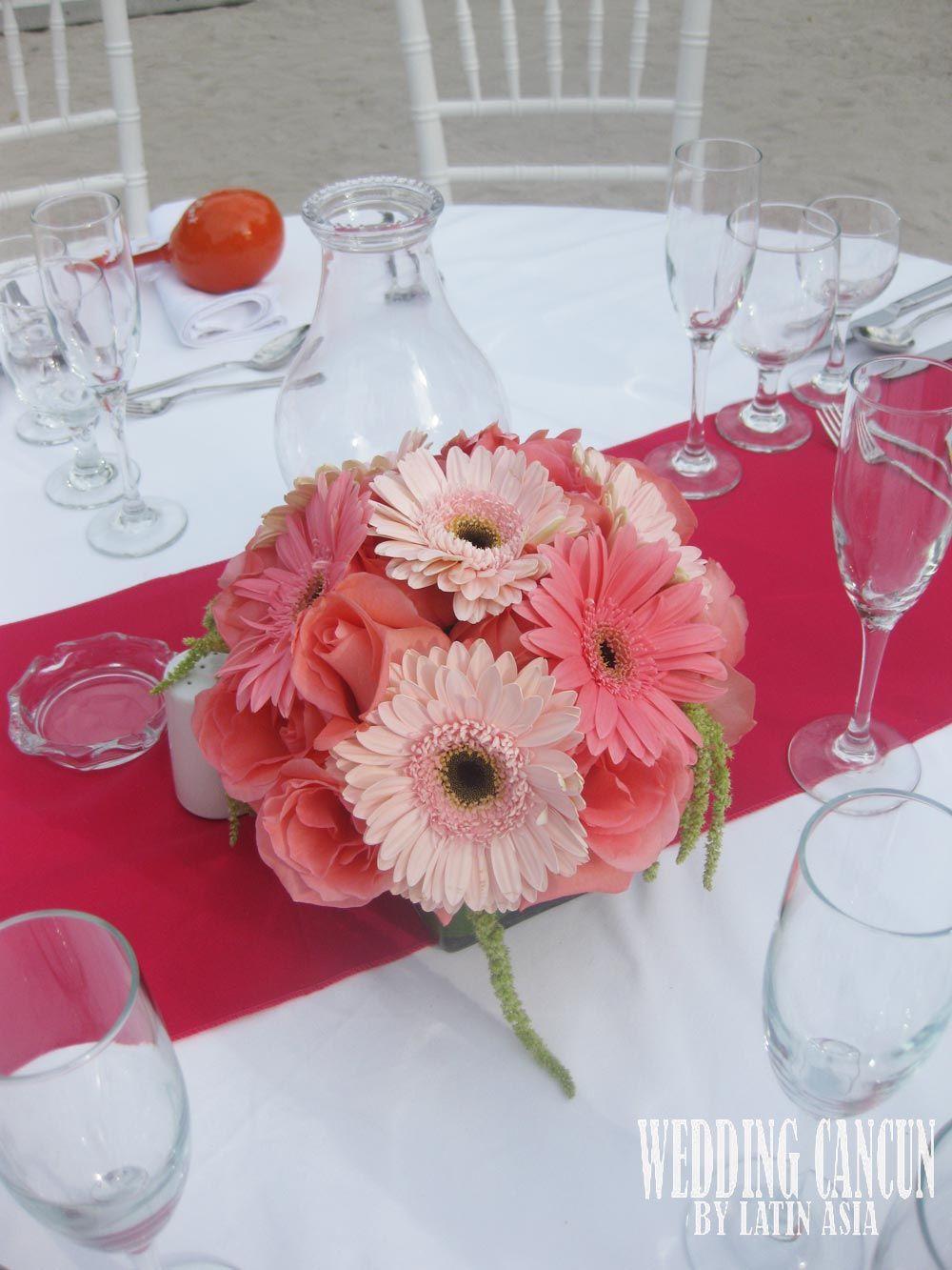 centerpiece #coral #pink #decor #weddingcancun by #latinasia ...