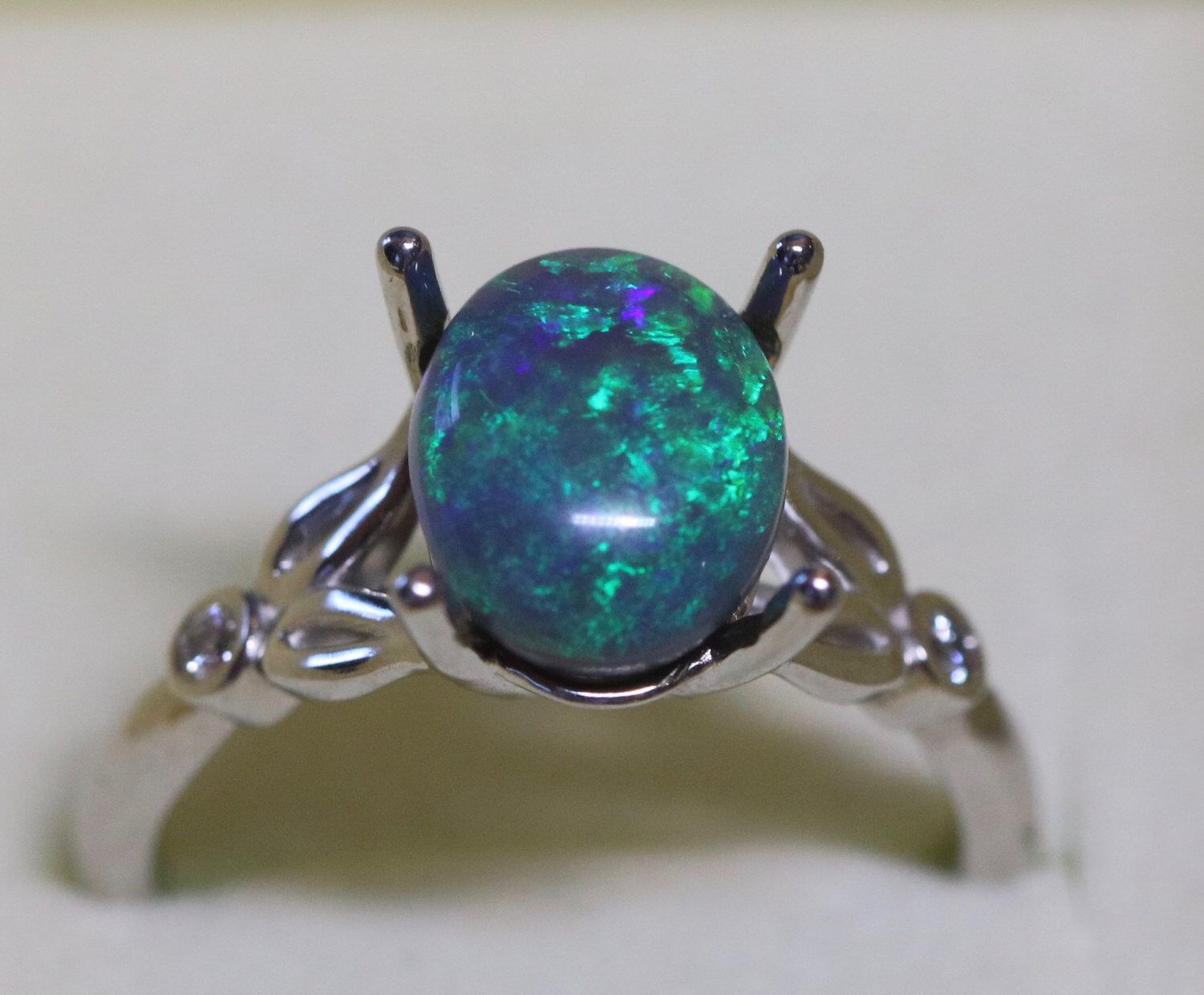 10k 14k Genuine Black Opal Ring Australian Opal 10k White Gold Ring With Diamonds Size 7 By Opalembers On Black Opal Ring Australian Black Opal Black Opal