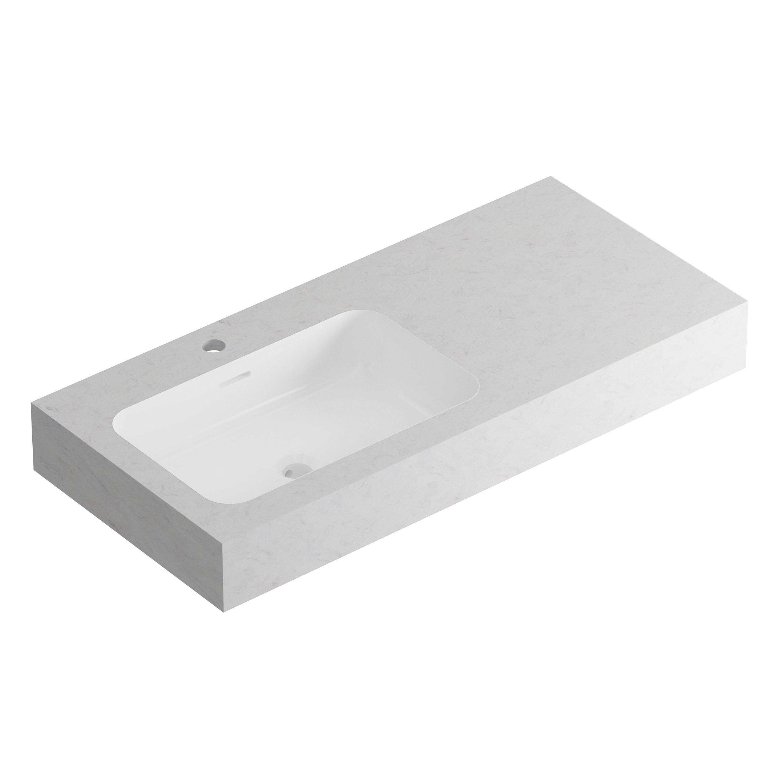 Plan Vasque En Pierre plan vasque simple série duo calacatta pierre blanc l.81