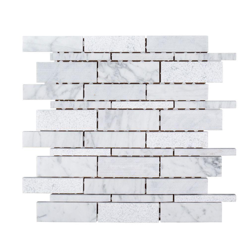 Jeffrey Court Restful Sea 10 1 2 In X 8 Mm Marble Mosaic Tile MosaicStone MosaicMosaic TilesMosaicsHome DepotPark CityMarbles