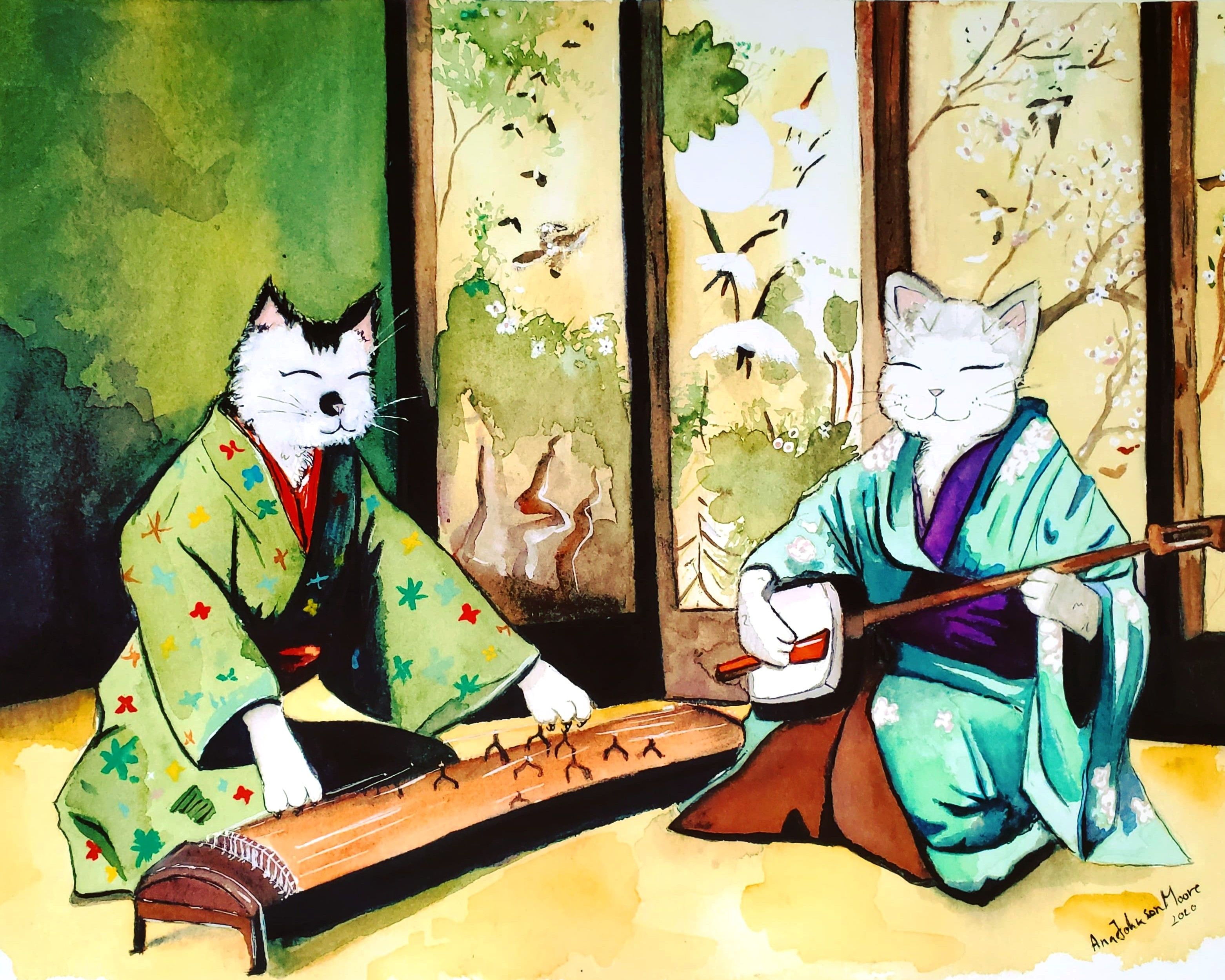 Kimono Cats with Traditional Japanese Music Kawaii