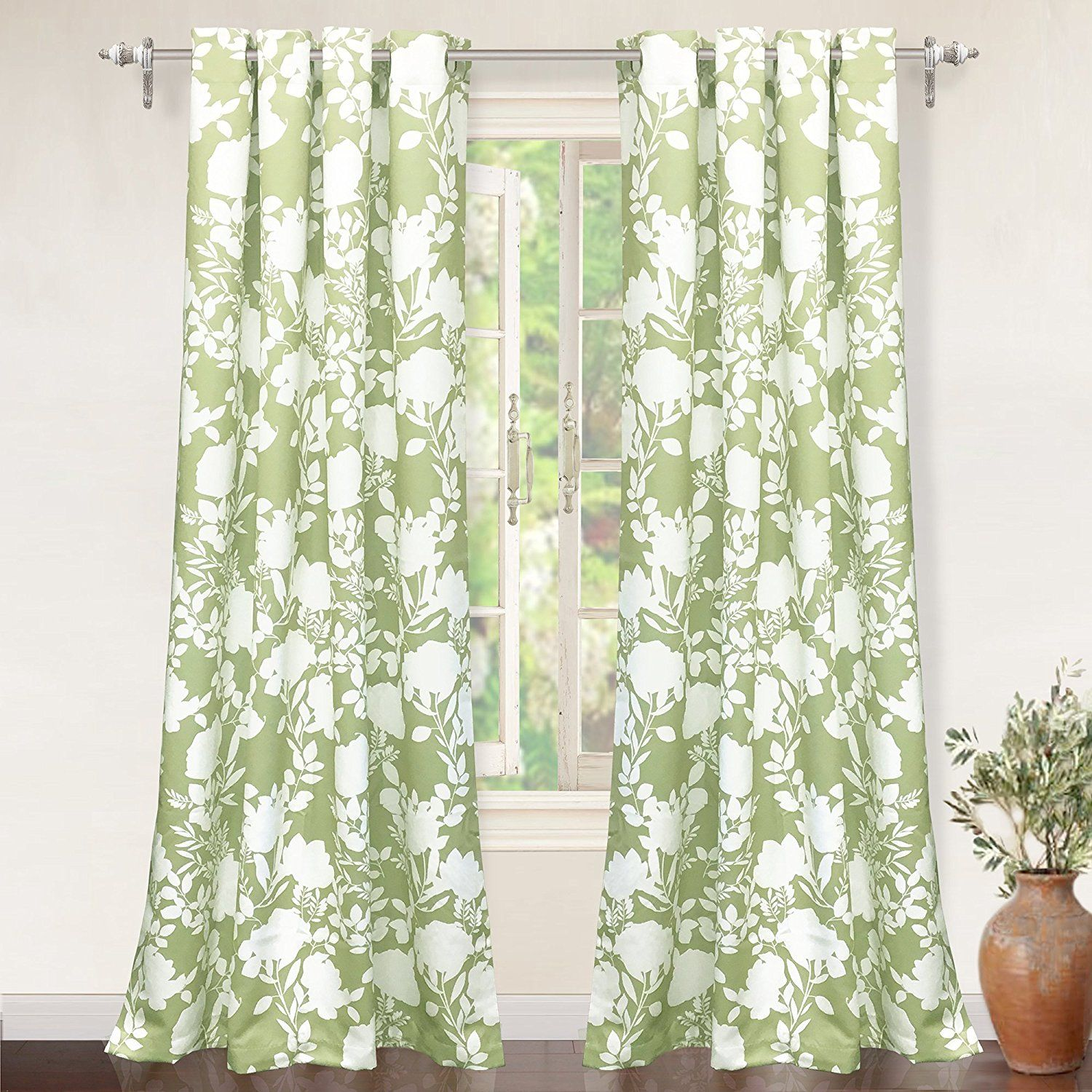 Driftaway Floral Delight Botanic Pattern Room Darkening Thermal Insulated Grommet Unlined Window Curtains Olive Green Panel Curtains Leaf Curtains Floral Room