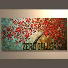 Cuchillo con textura de alto grado moderna muerta floral Árbol de hoja roja pintura al óleo de la flor de pared floral sobre lienzo Comedor 10142 (China (continente))