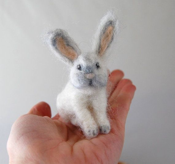 Cute Bunny. Gifts For Girls. Needle Felted Animals. Needle Felted Bunny. White Rabbit. Gifts For Kids Toys. Felted Rabbit. Kids Gifts #needlefeltedbunny