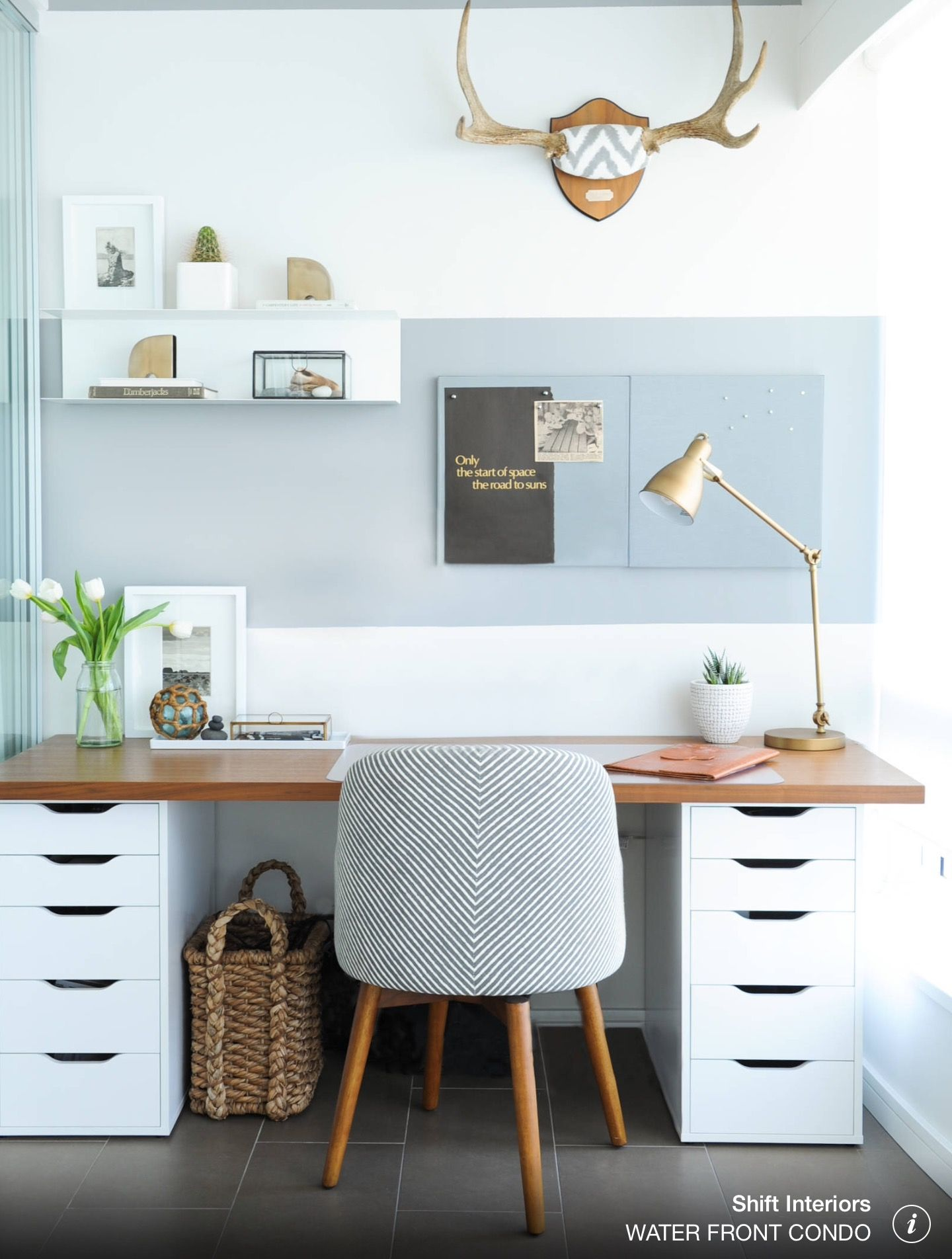 Small Home Office With Gray And White Striped Wall Wood Desk Tile Floor Patterned Chair Shift Interiors