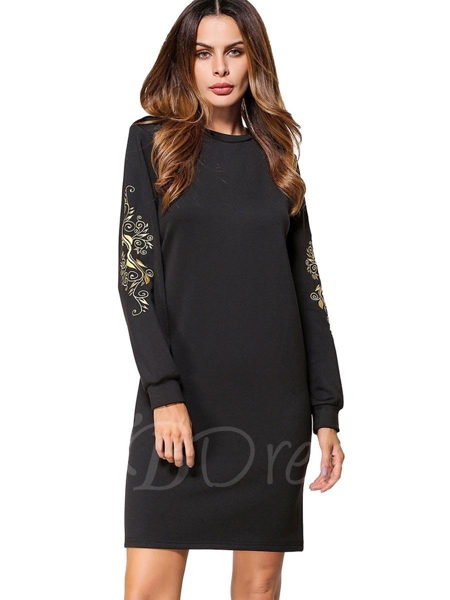 Tbdress tbdress black appliques womens long sleeve dress