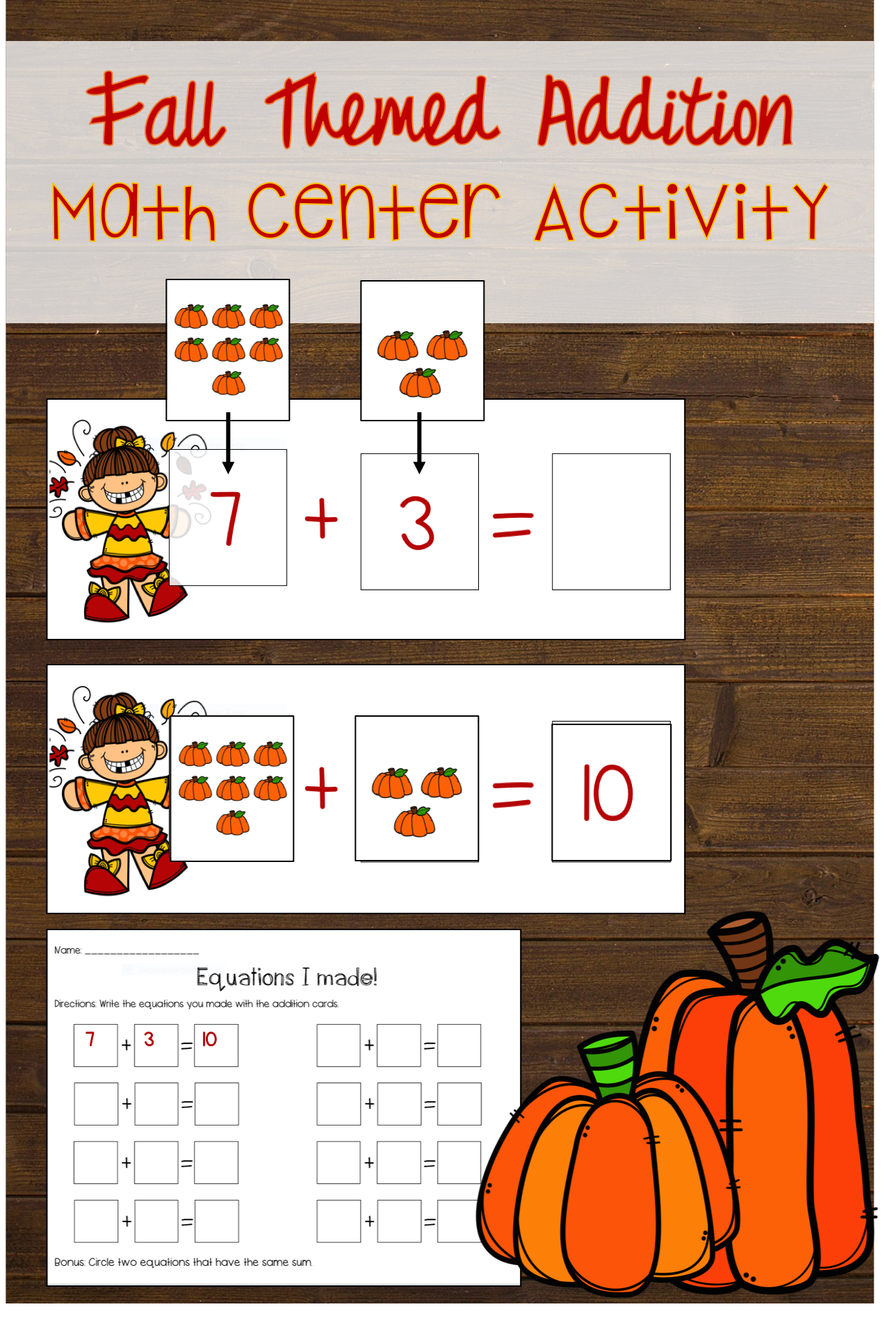 Fall Themed Addition Math Center