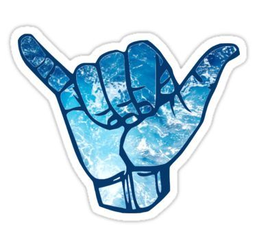 'Surfs Up Hand Symbol Ocean Waves' Sticker by Claire Andrews