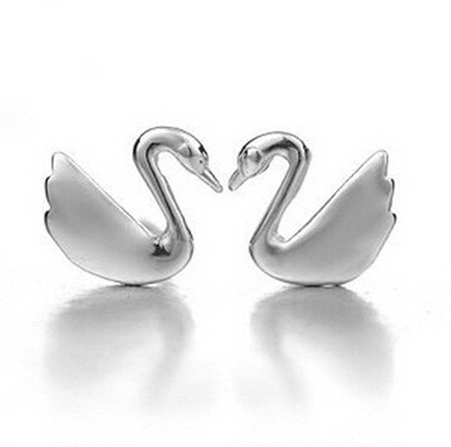 Sophisticated Gem Swan Studs w// Silver Chain Detail 925 Sterling Silver