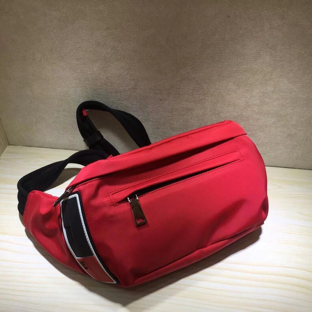 25f51baff2d8 Prada Nylon Belt Bag 2VL004 Red 2018  Pradahandbags
