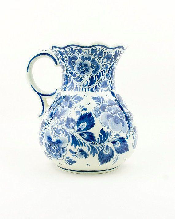 Dutch vintage white and blue delfe pitcher