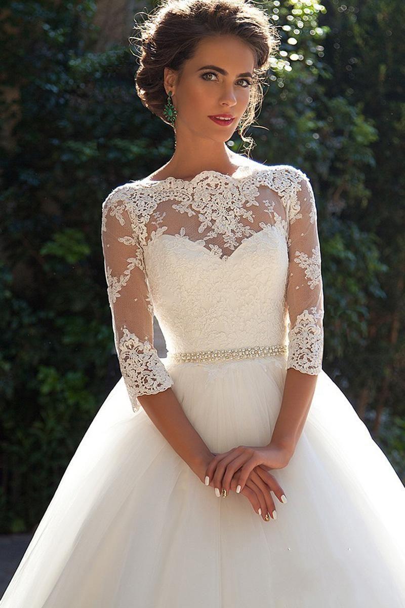 Vintage Lace Ball Gown Wedding Dresses 2017 Milla Nova Three Quarter Sleeves Sheer Neck Tulle Bridal Gown Ball Gowns Wedding Wedding Dresses Gown Wedding Dress