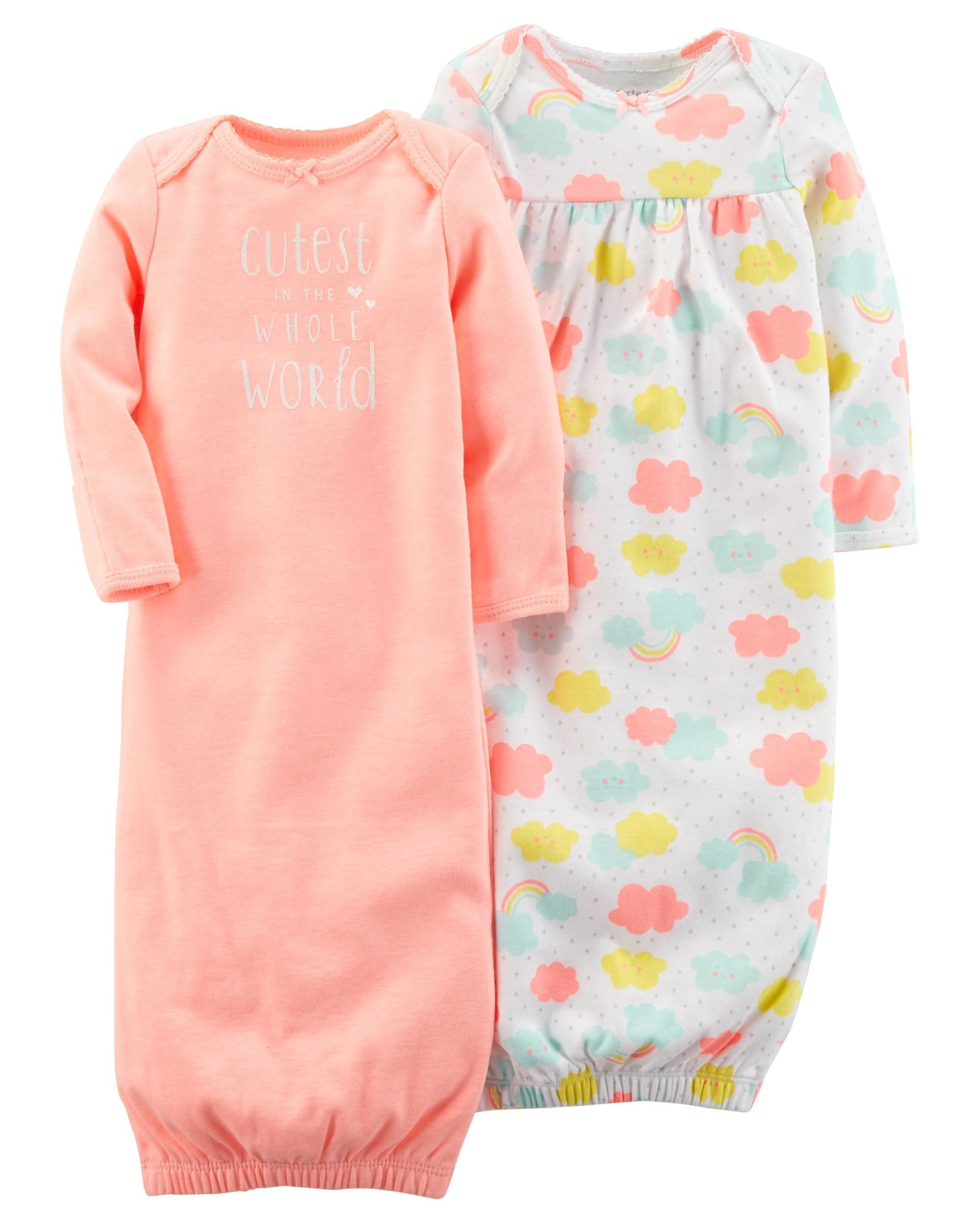 784070c5a Crafted with babysoft cotton and adorable prints, these gowns feature  cinched hems to keep her toes cozy all night.