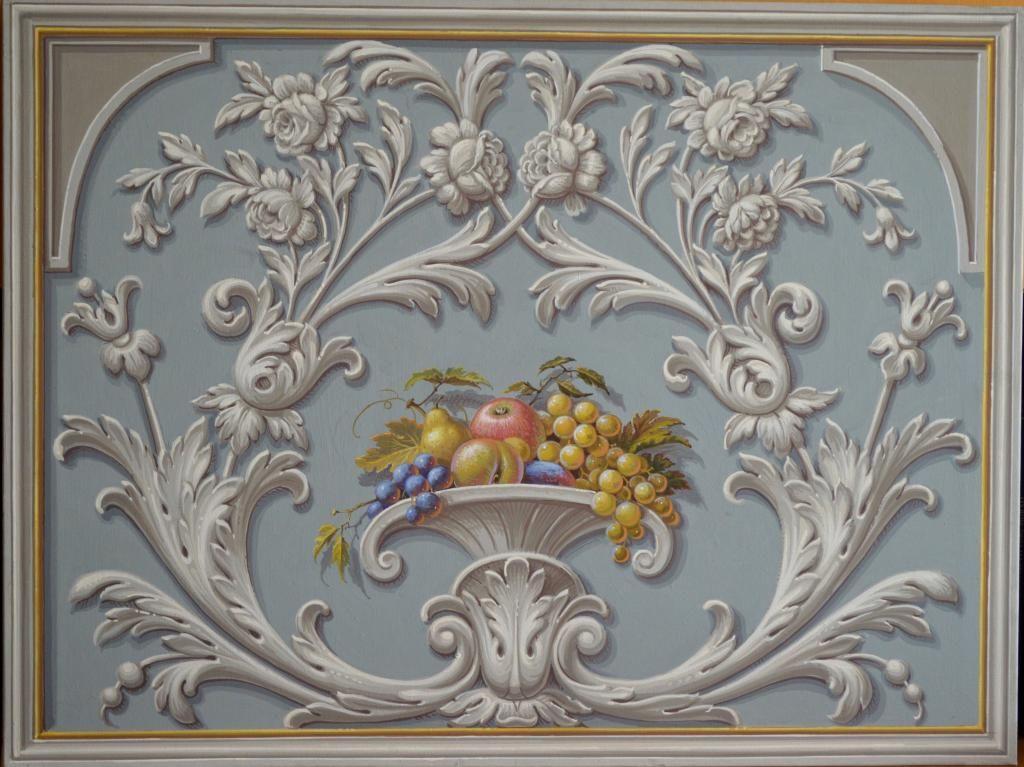 Ornato con frutta decorazione cardone art grotesque - Decorazioni per soffitti ...