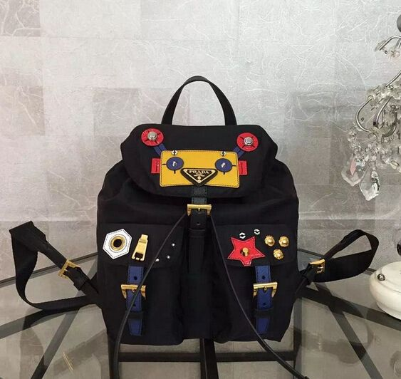 575c64301008 Prada Fabric backpack with Robot motif leather and metal appliqués ...